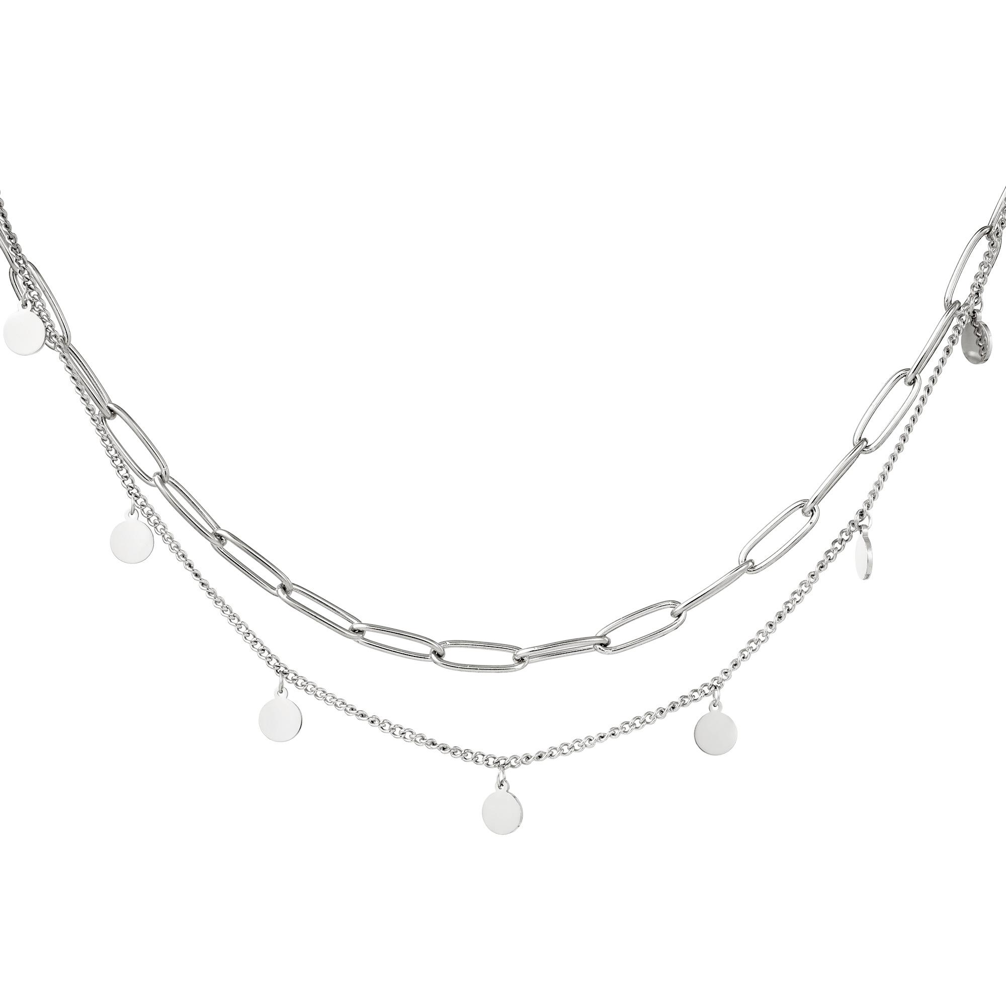 Collar Cadena Circulo Plata