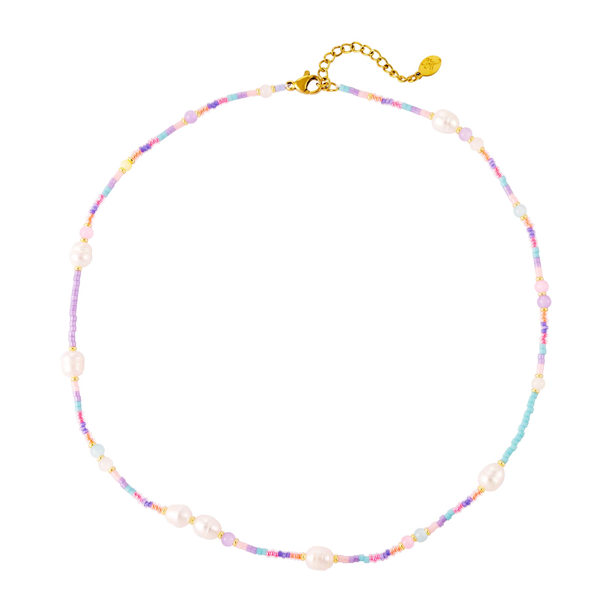 Collier perles pastel et perles