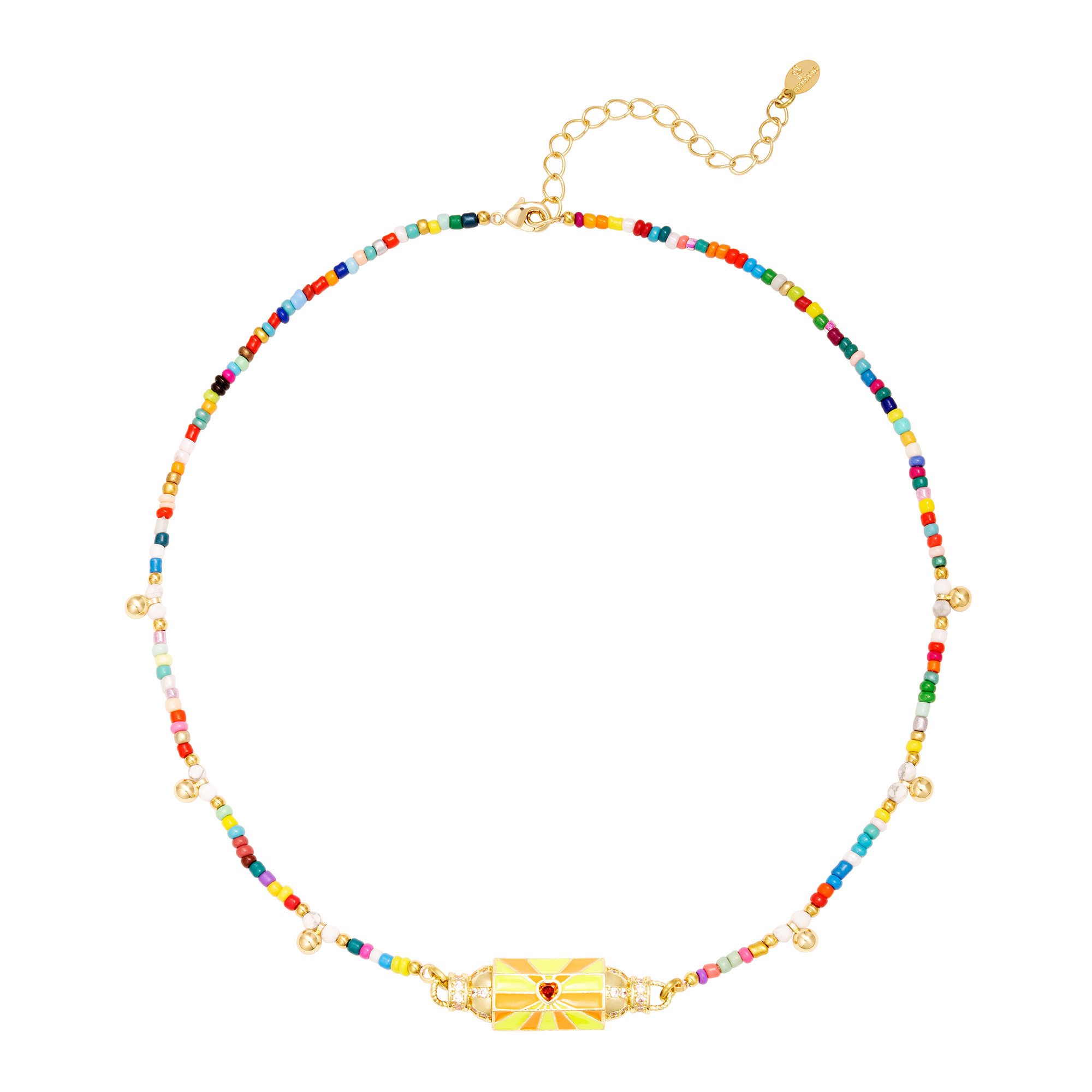 Beaded colorful necklace with bead