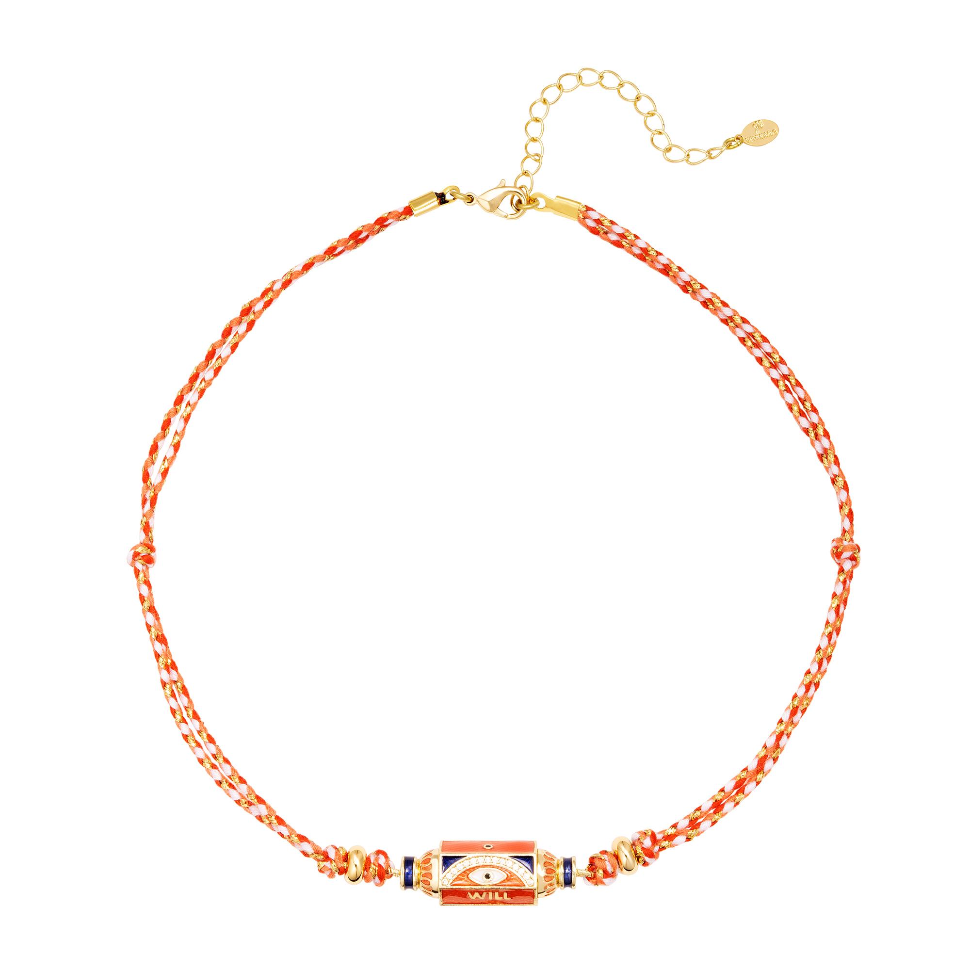 Collier orange avec perle