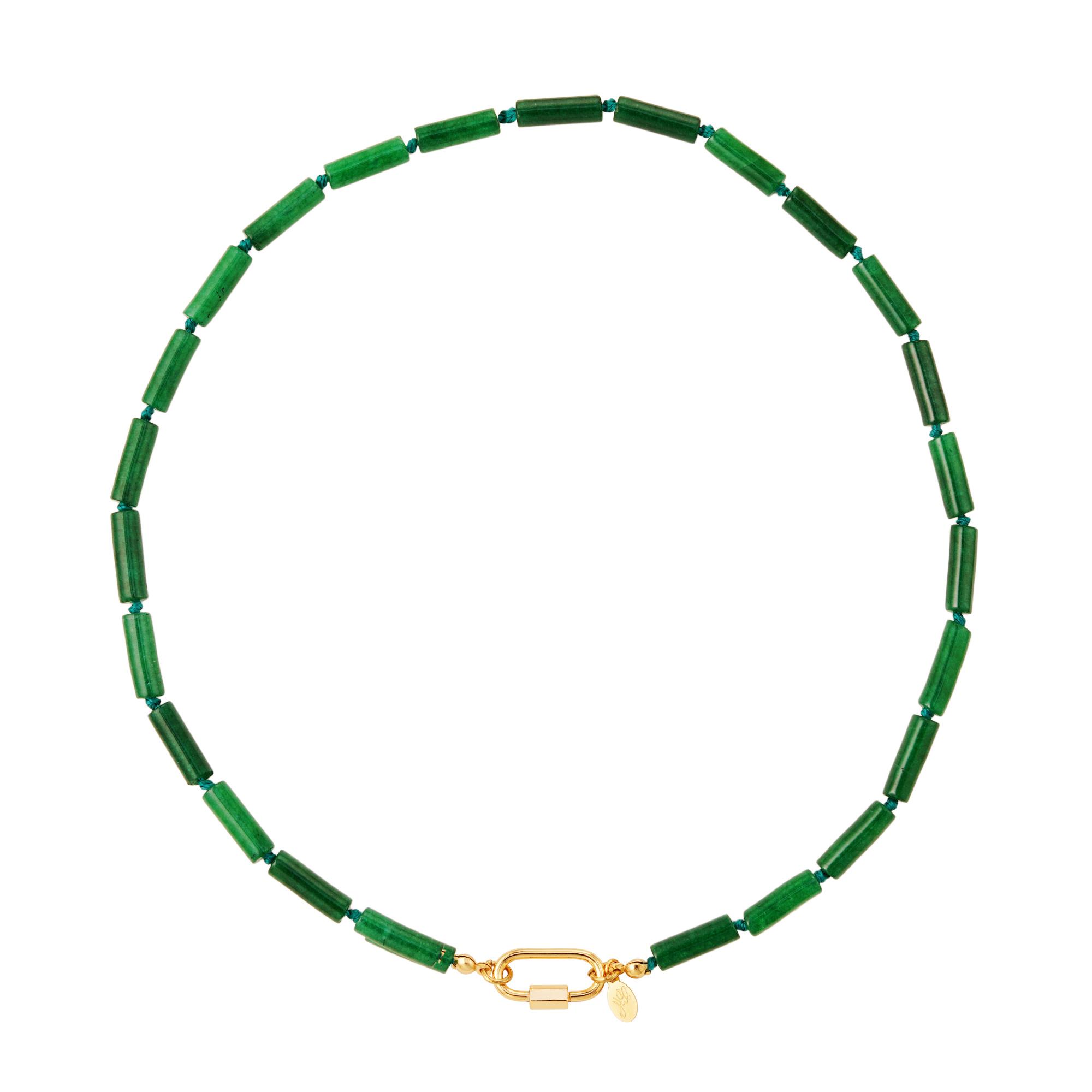 Necklace flat beads lock