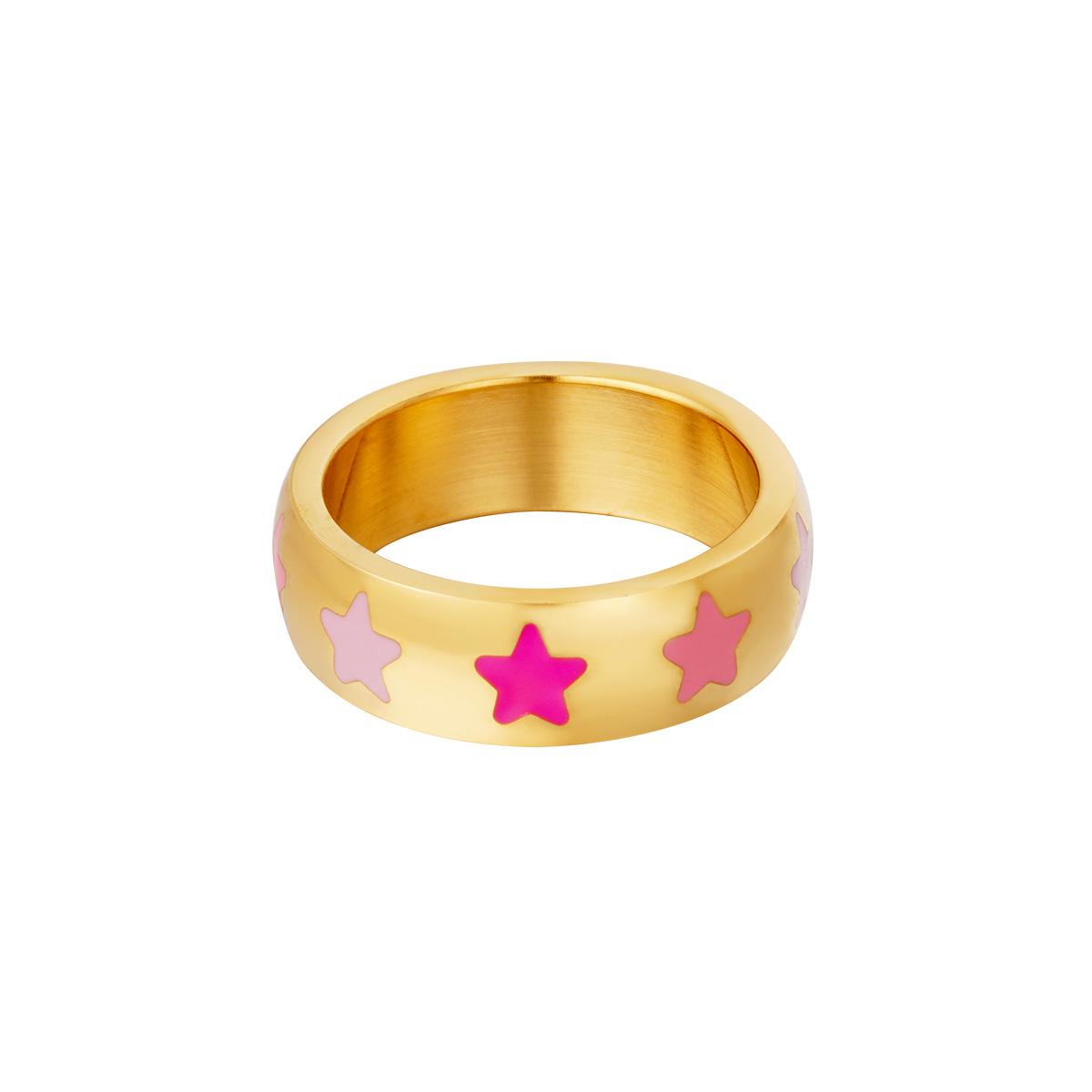 Roestvrijstalen ring met sterren