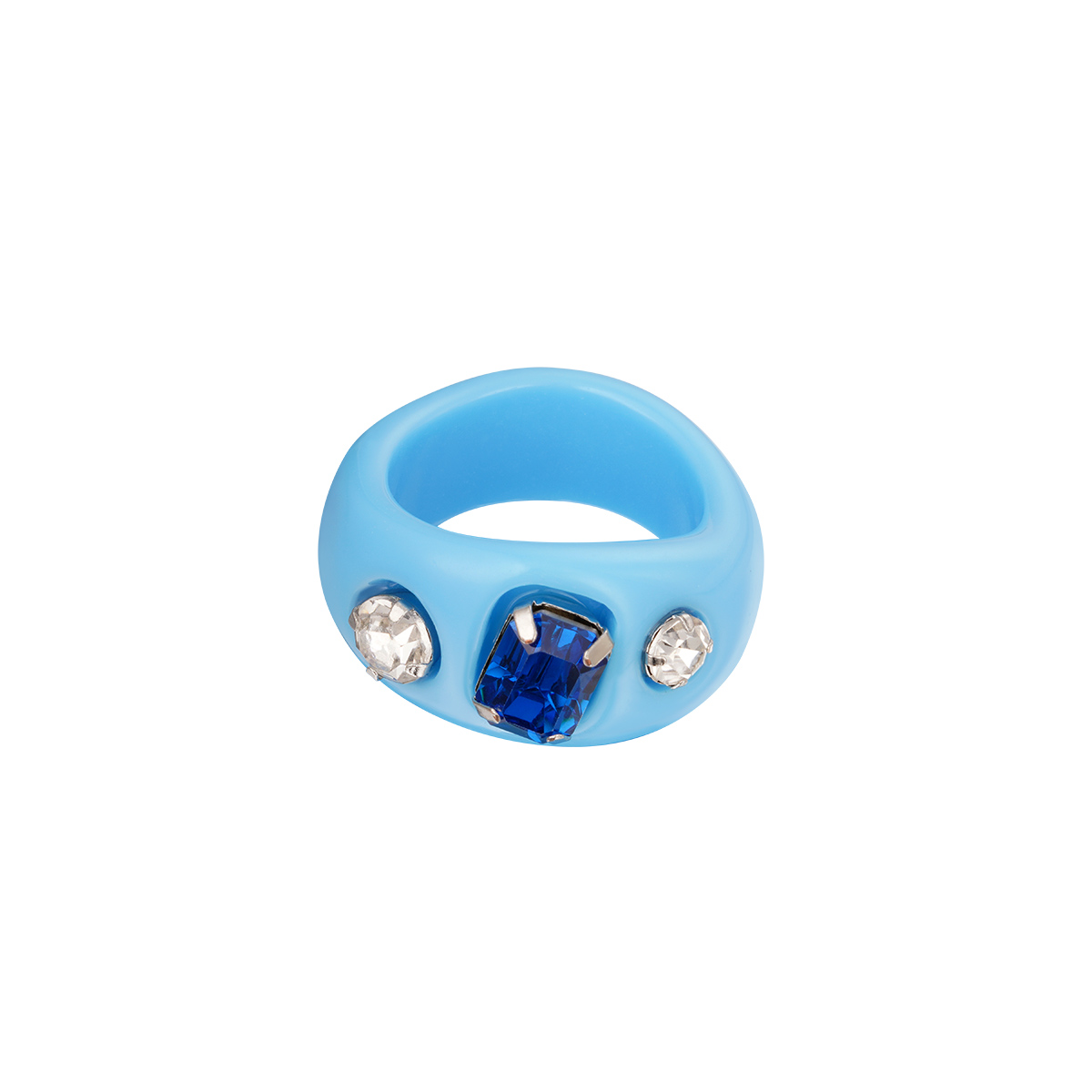 Plastic ring met steentjes