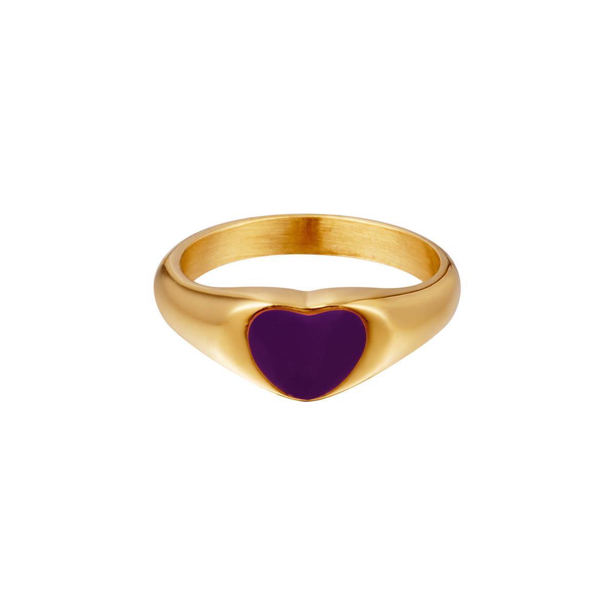 Anillo corazón de acero inoxidable esmaltado violeta