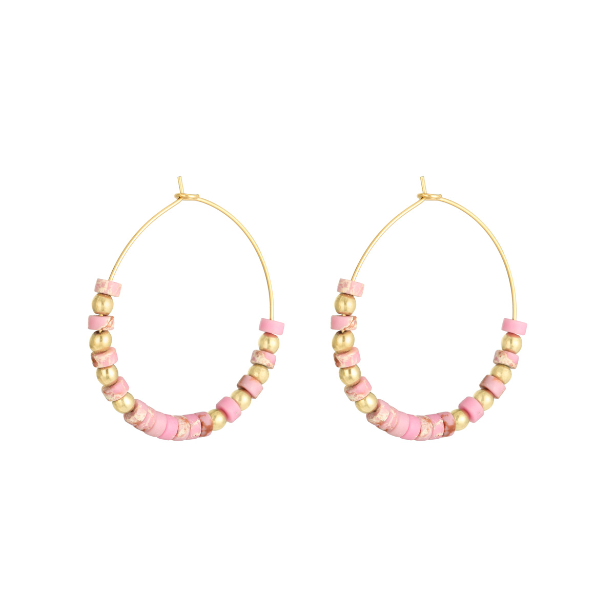 Earrings Beaded Hoops Gold