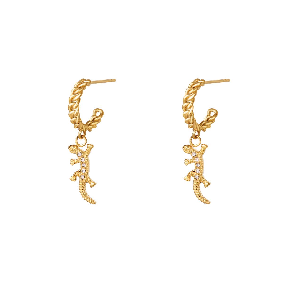 Boucles d'oreilles chaîne charm salamandre