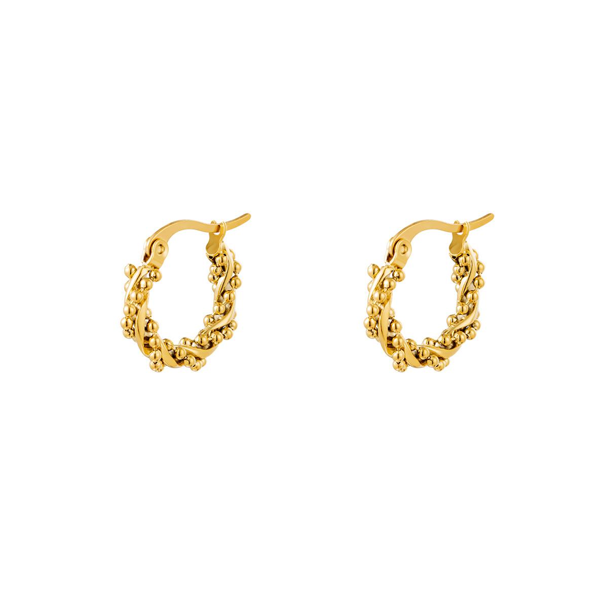 Pendientes Aro Múltiples Perlas Torcidas Pequeño Oro