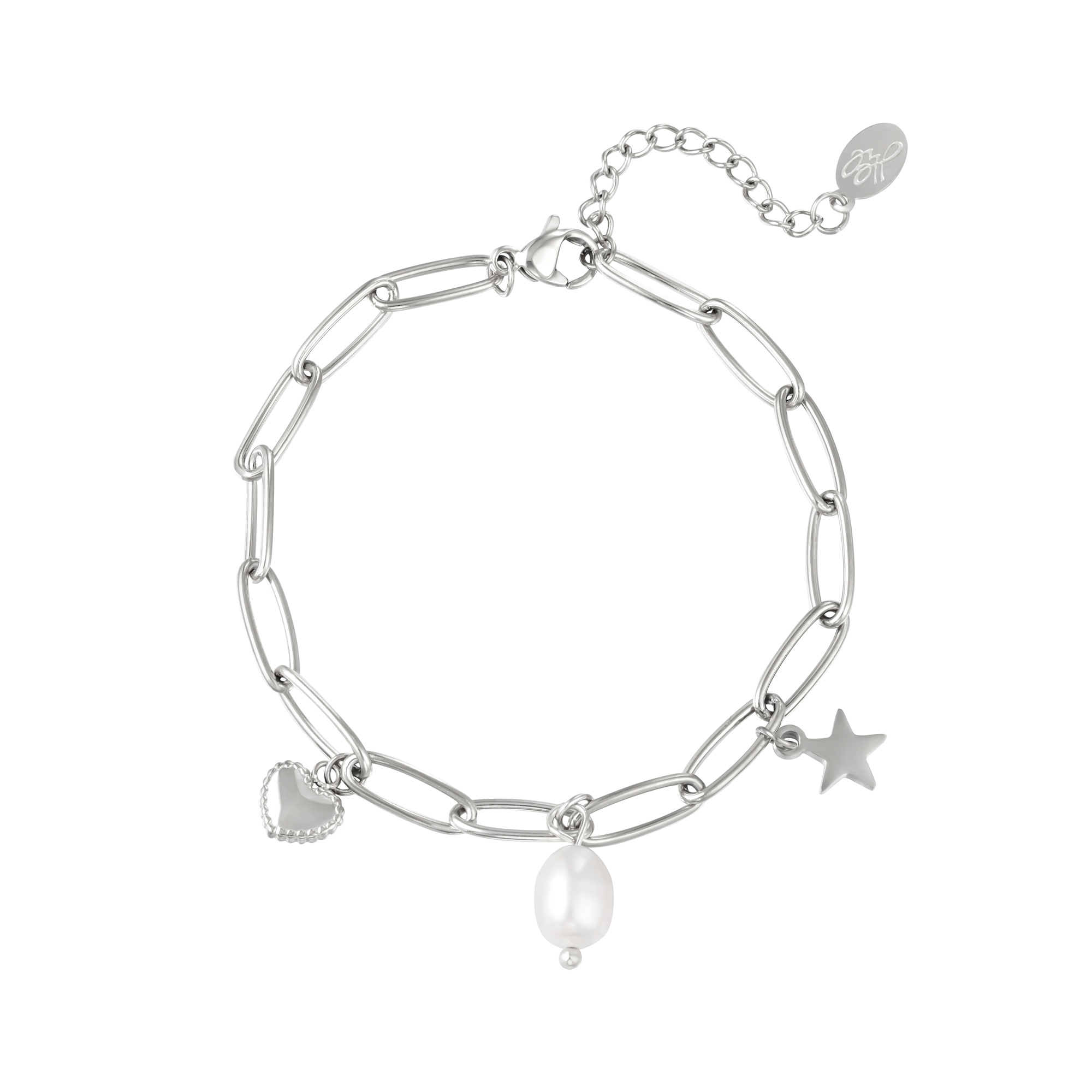 Edelstahlkettenarmband mit herz- und sternförmigen anhängern und perlenanhänger