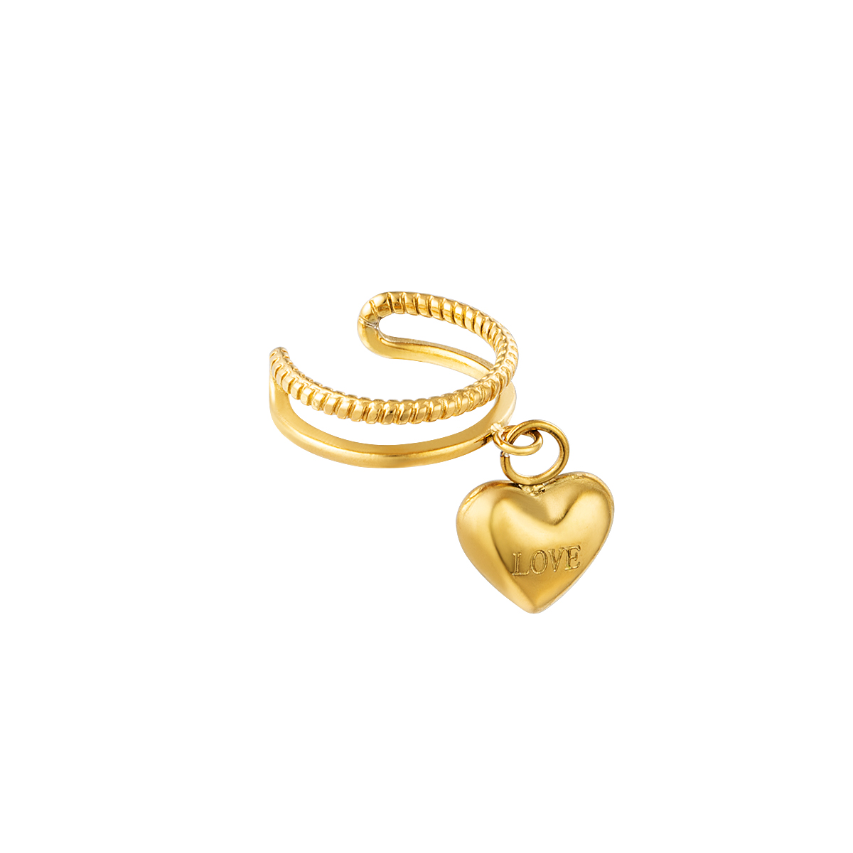 Double stainless steel earcuff with little heart charm