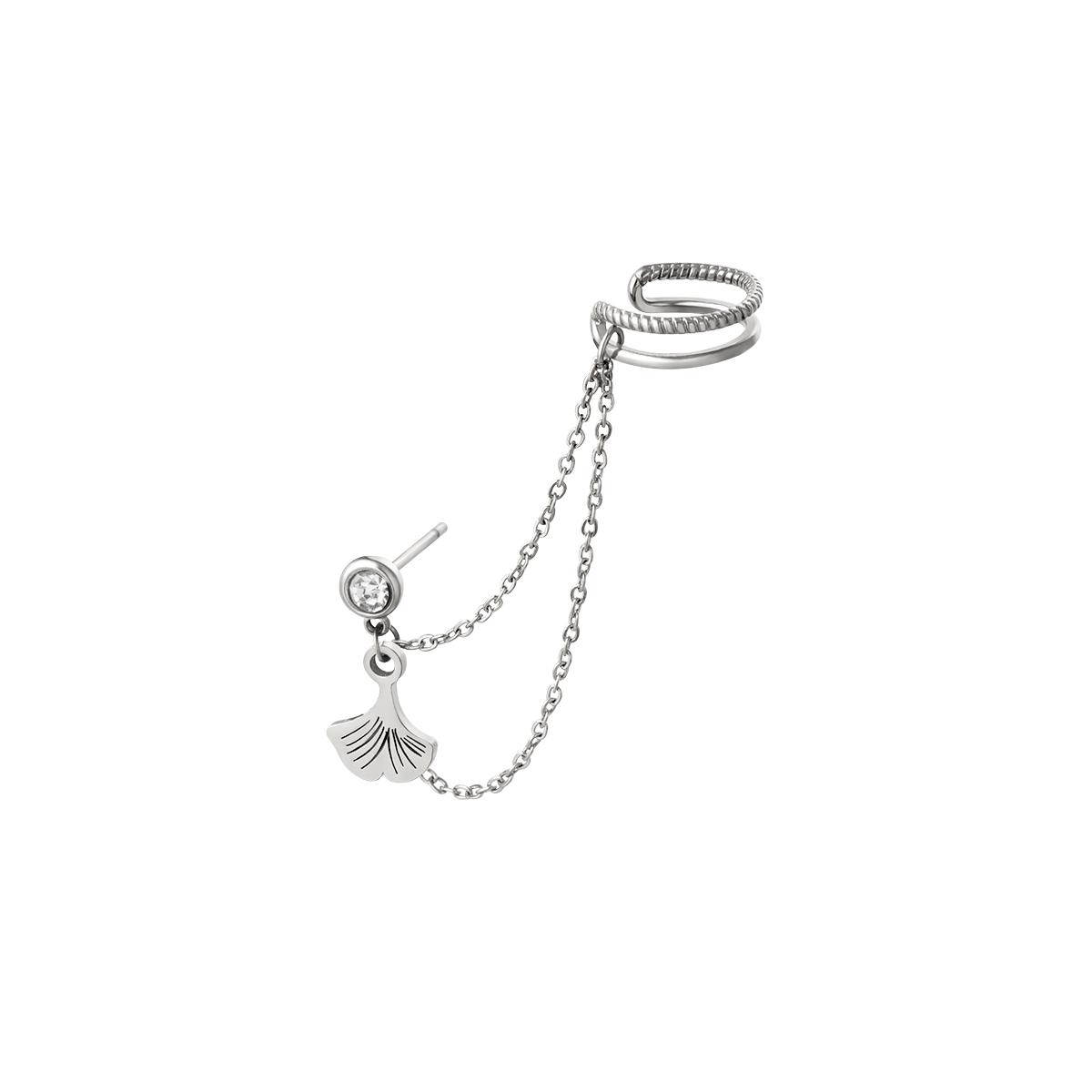 Roestvrijstalen oorboei met ketting en hanger