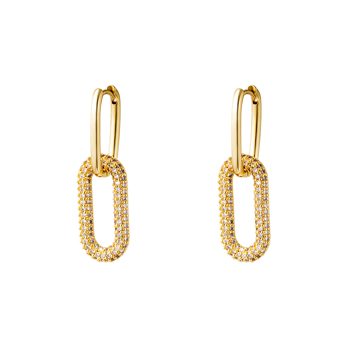 Boucles d'oreilles en cuivre doré avec pierres de zircon - Grandes