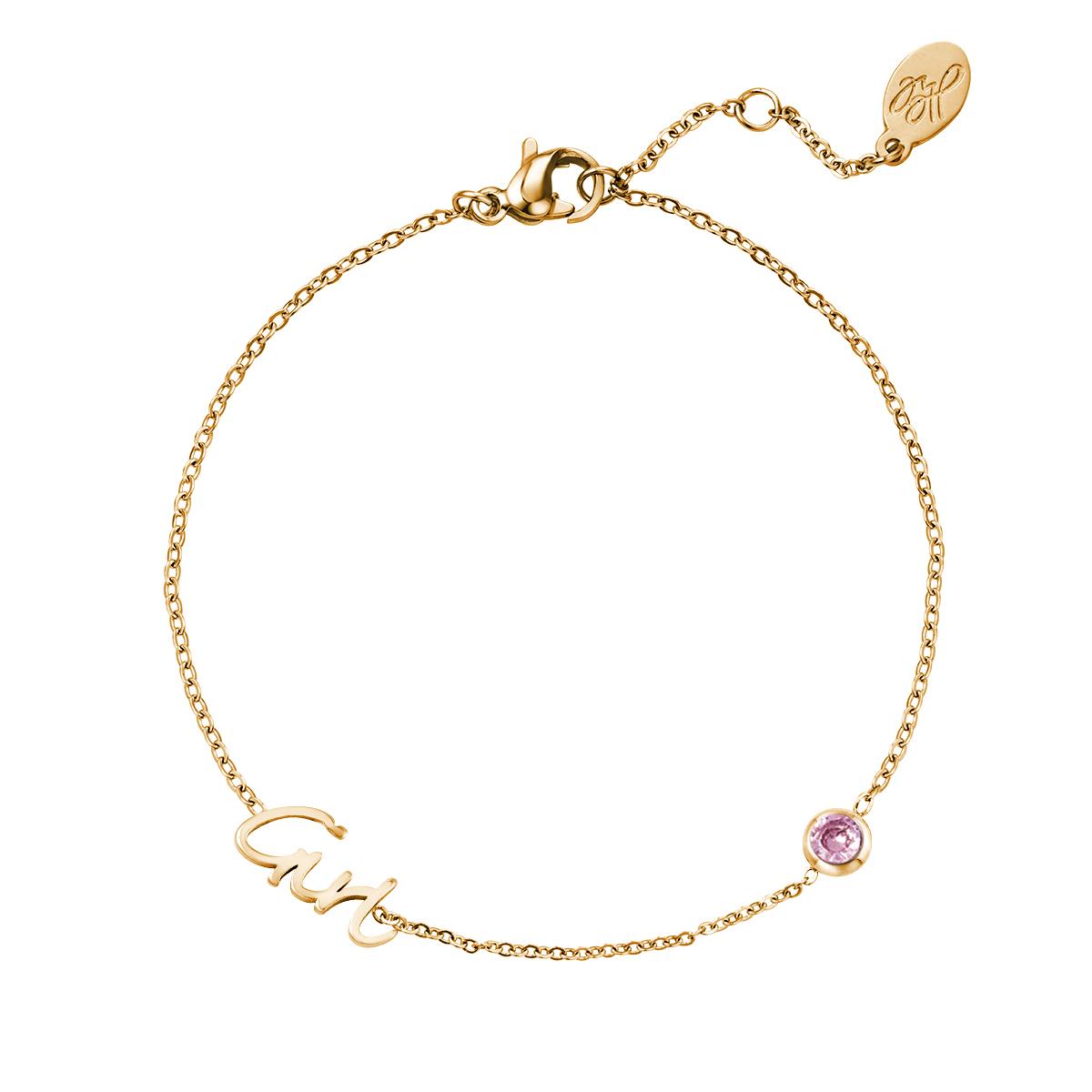 Geboortesteen Armband Goud Meisje