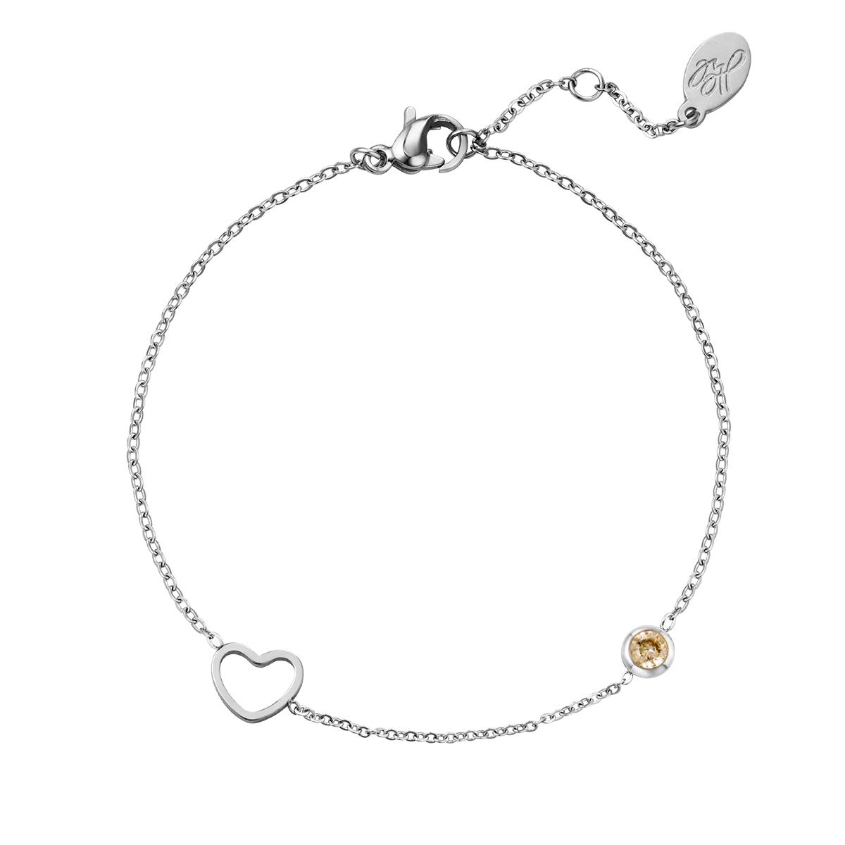 Birthstone bracelet January silver