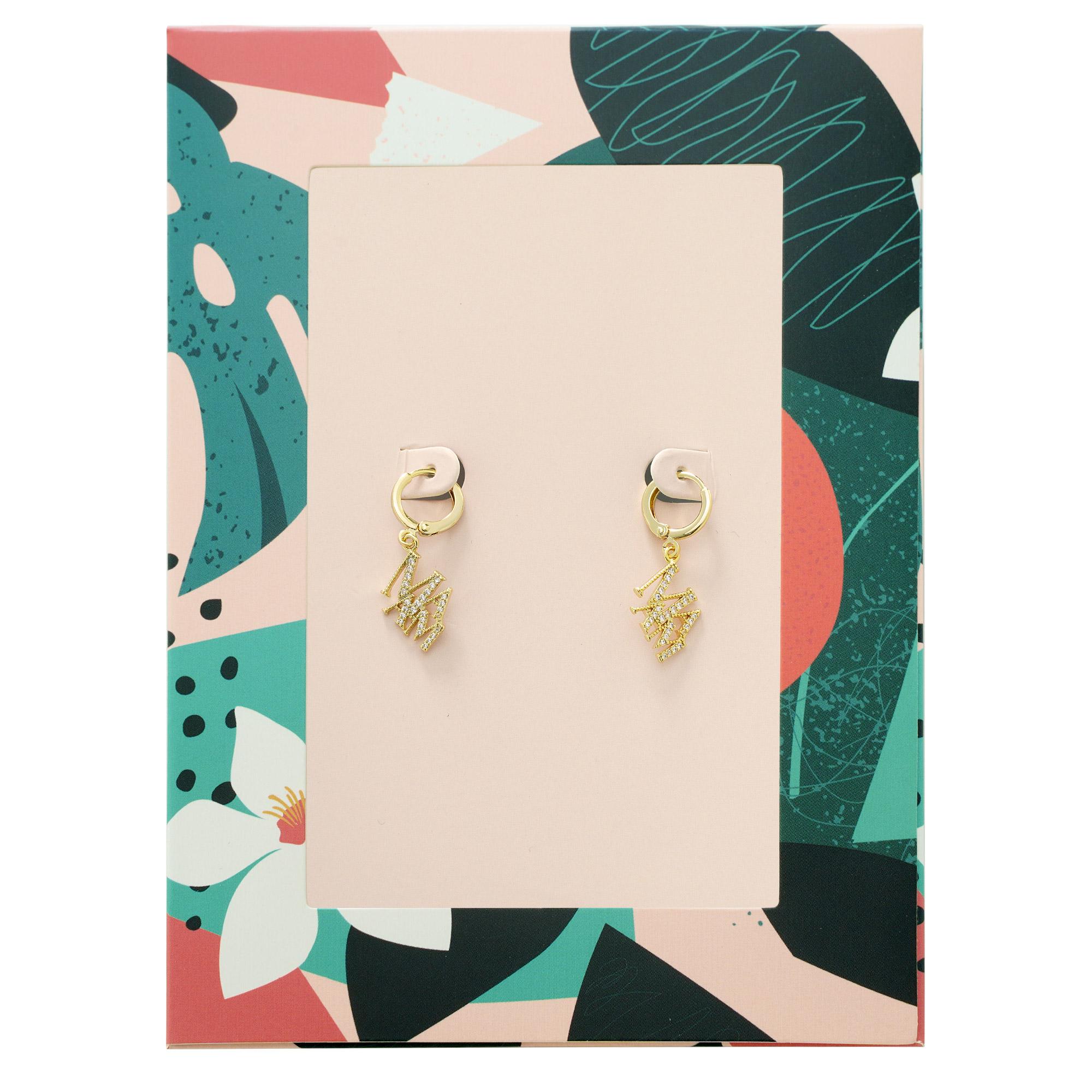 Copper earrings letters mama gold