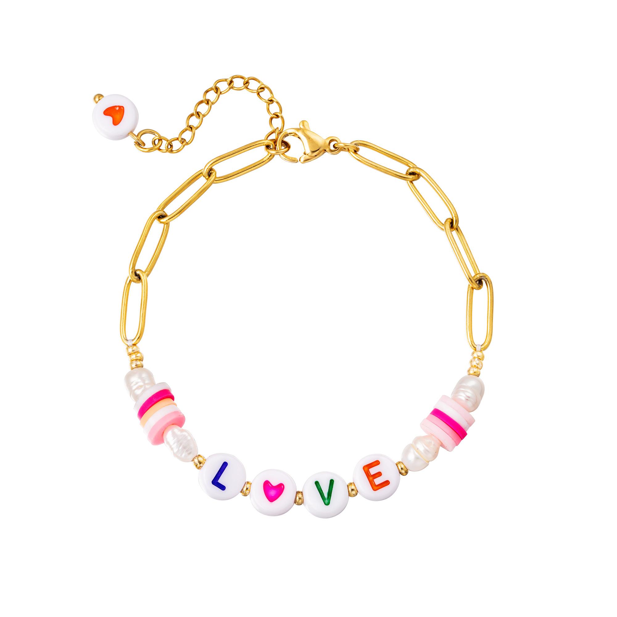 Edelstalen armband Love
