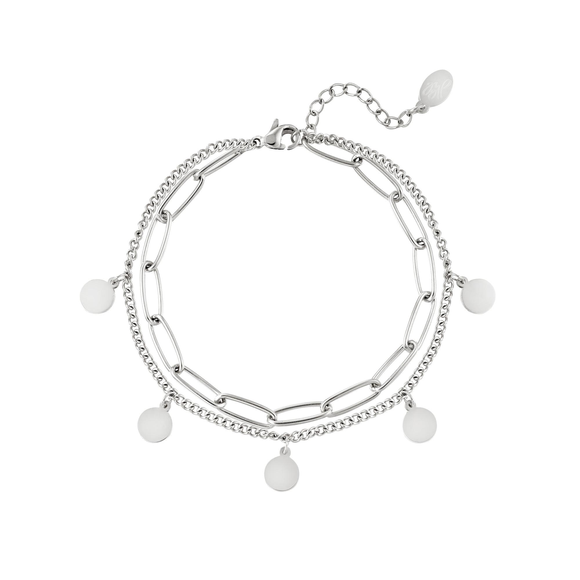 Armband Chain Circle zilver