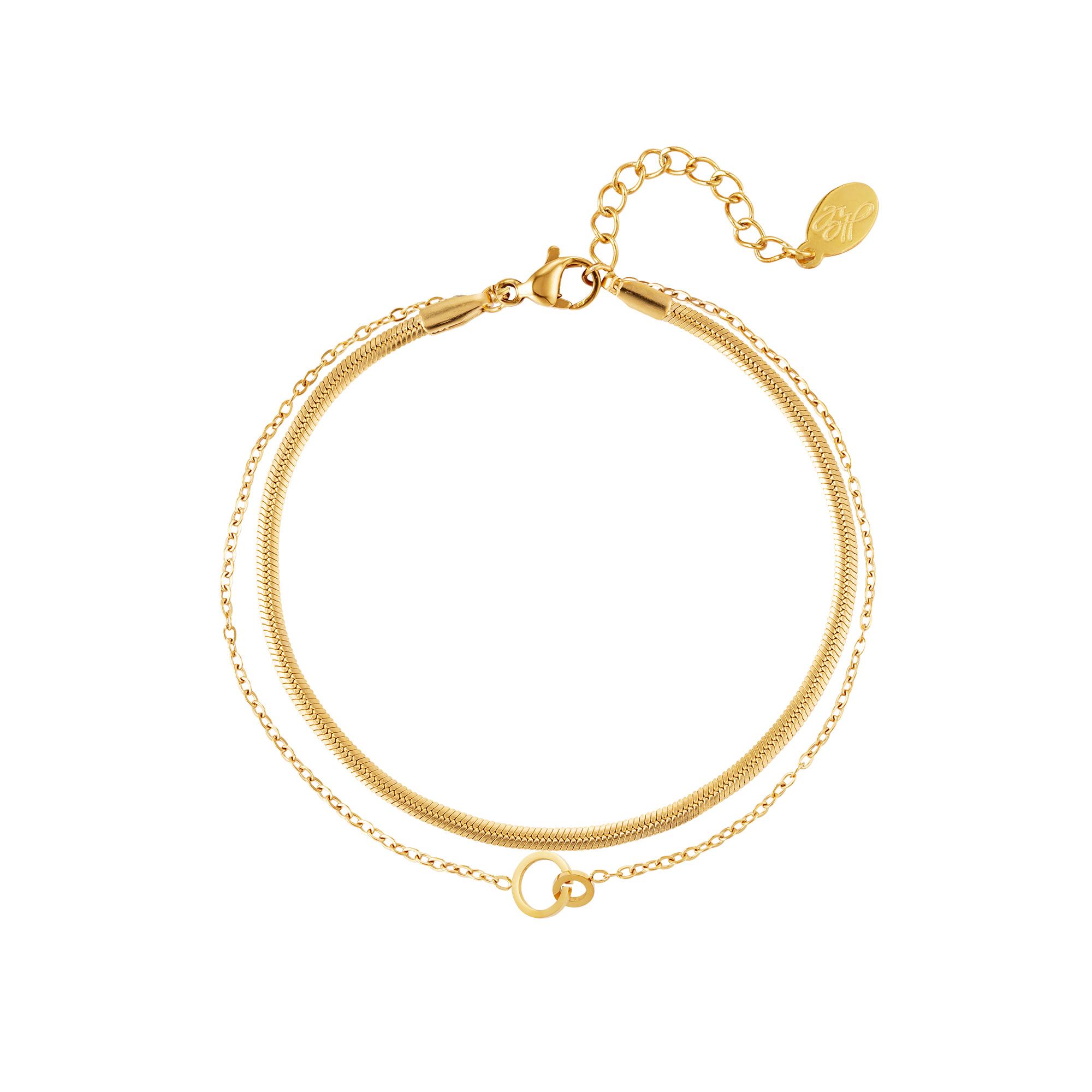 Dubbele armband verbonden cirkels