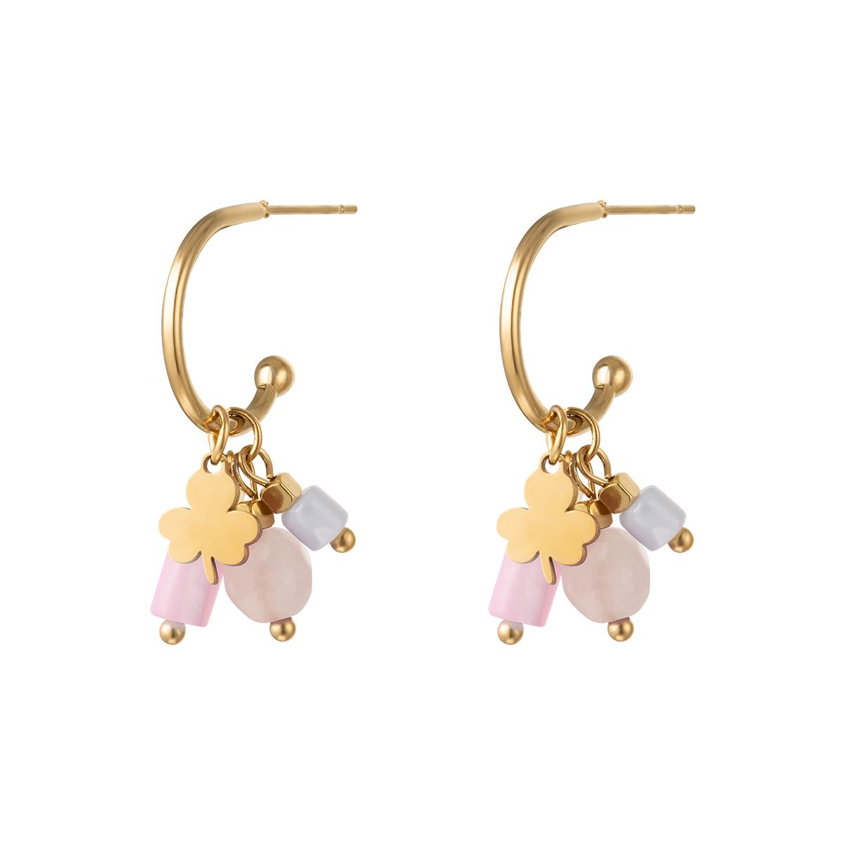 Boucles d'oreilles charms trèfle et pierres