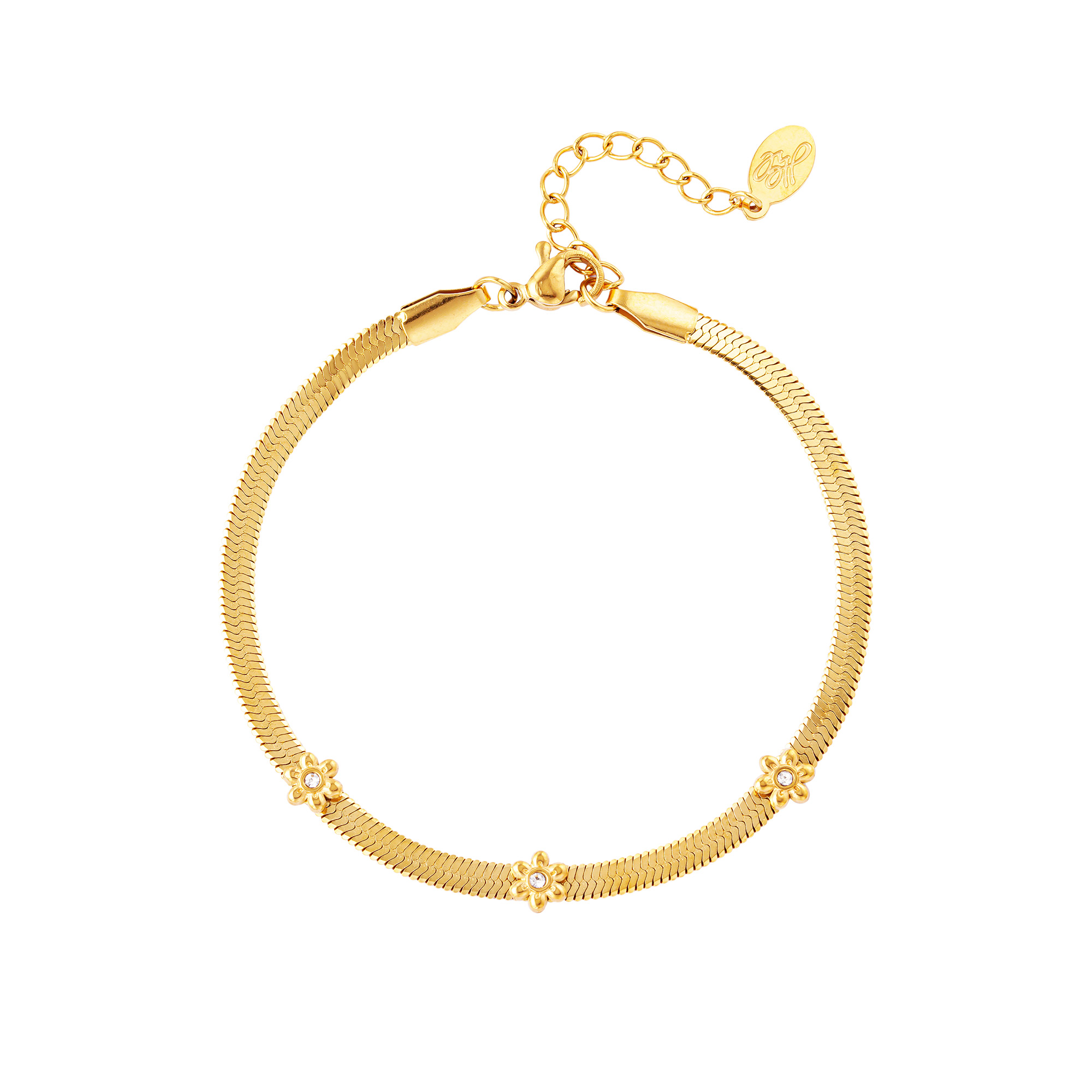 Bracelet en acier inoxydable avec petites fleurs