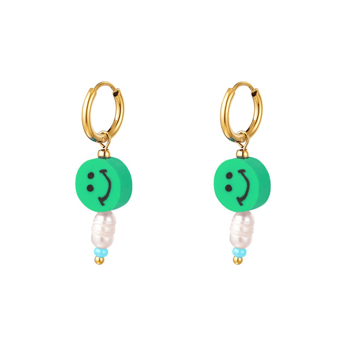 Stainless Steel Earrings Smilies Pearl