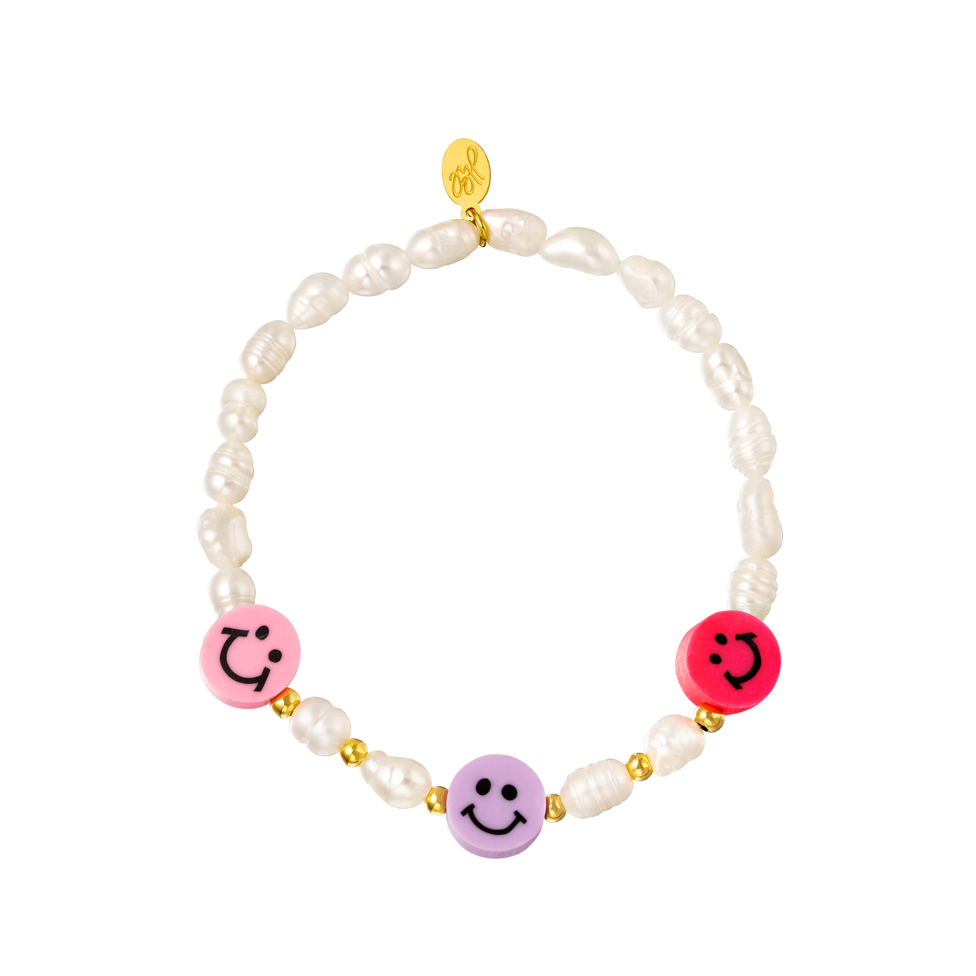 Bracelet smiley face and pearls