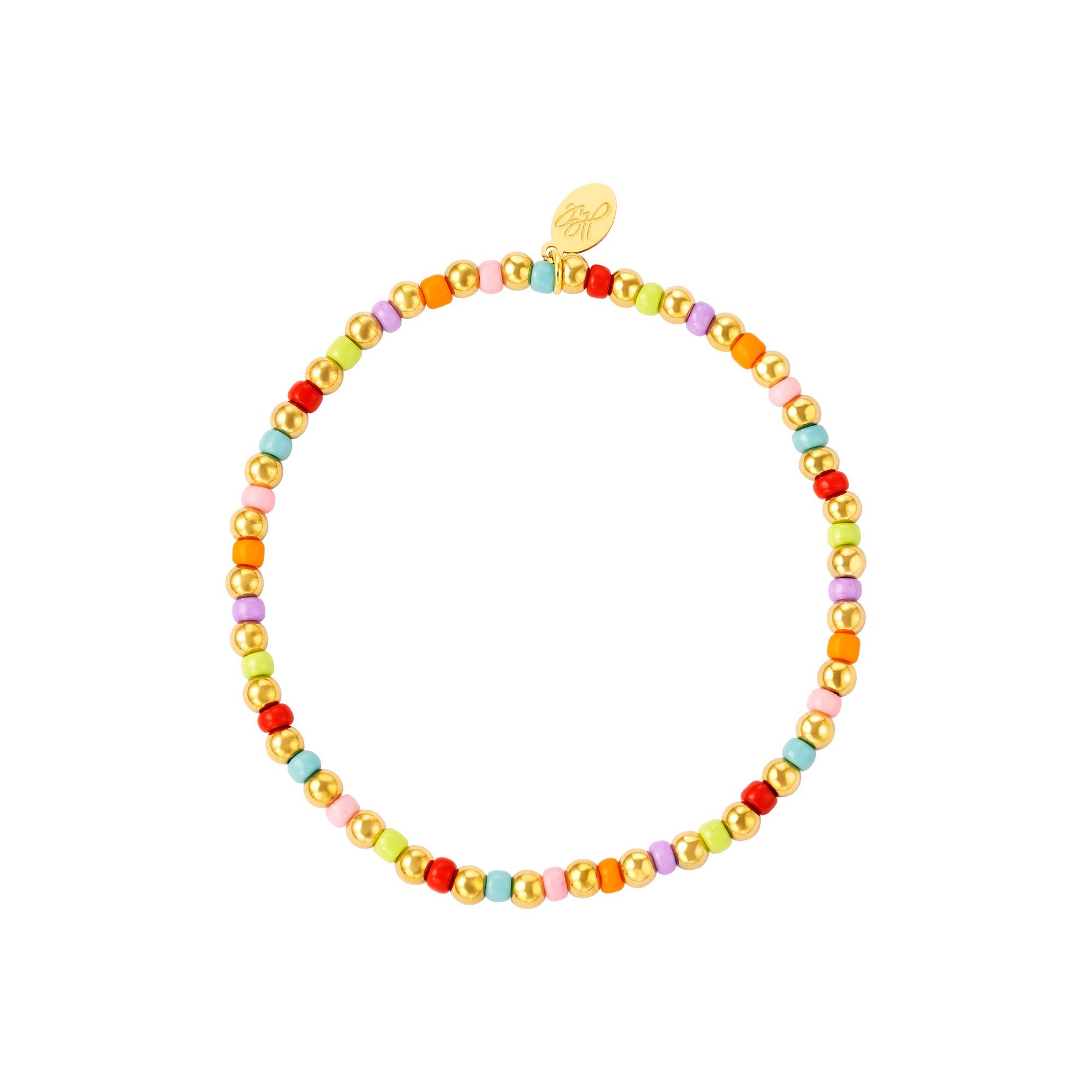 Bracelet perles colorées et dorées