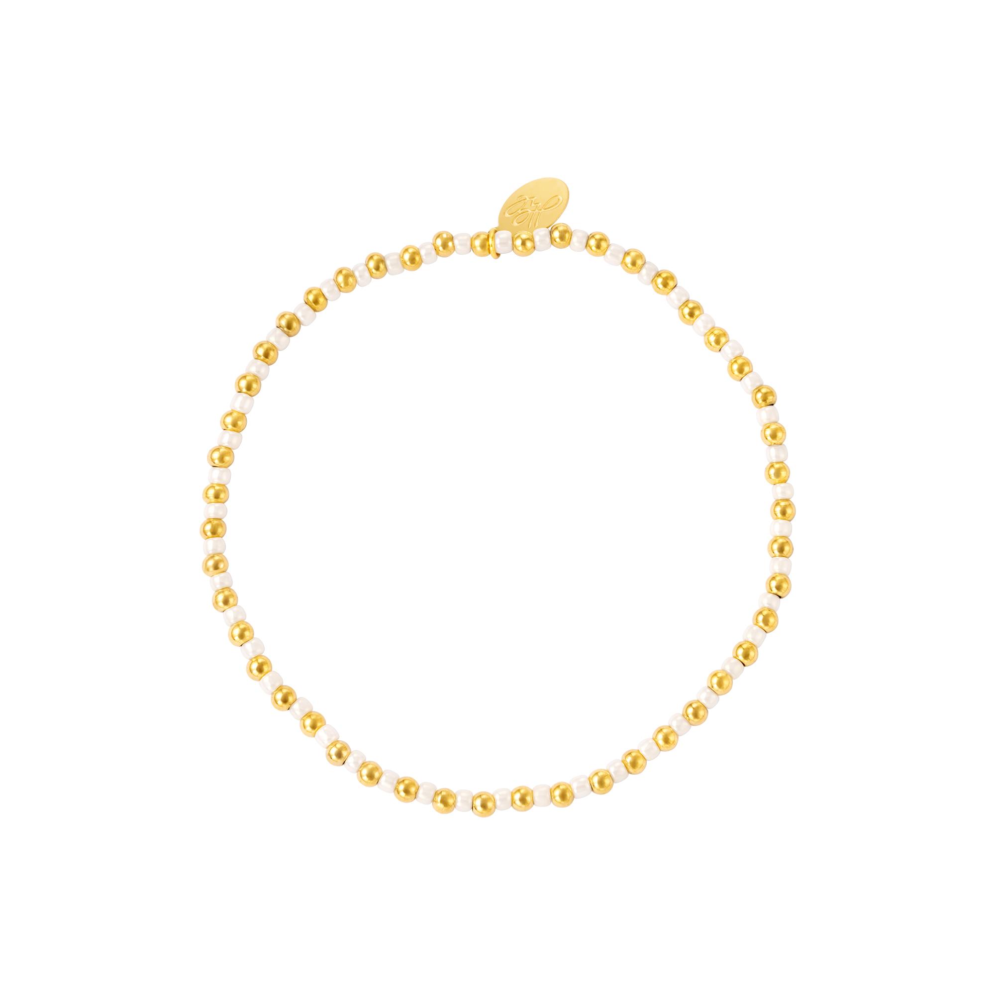 Beaded bracelet gold white