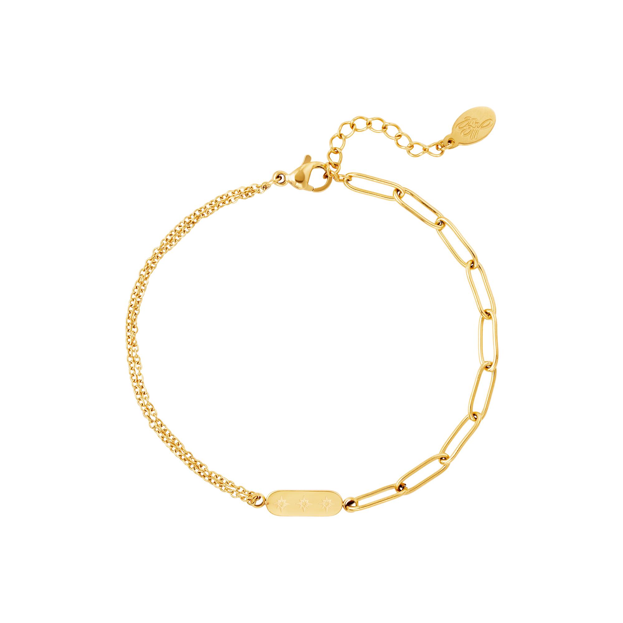 Bracelet en acier inoxydable avec double chaîne et breloque