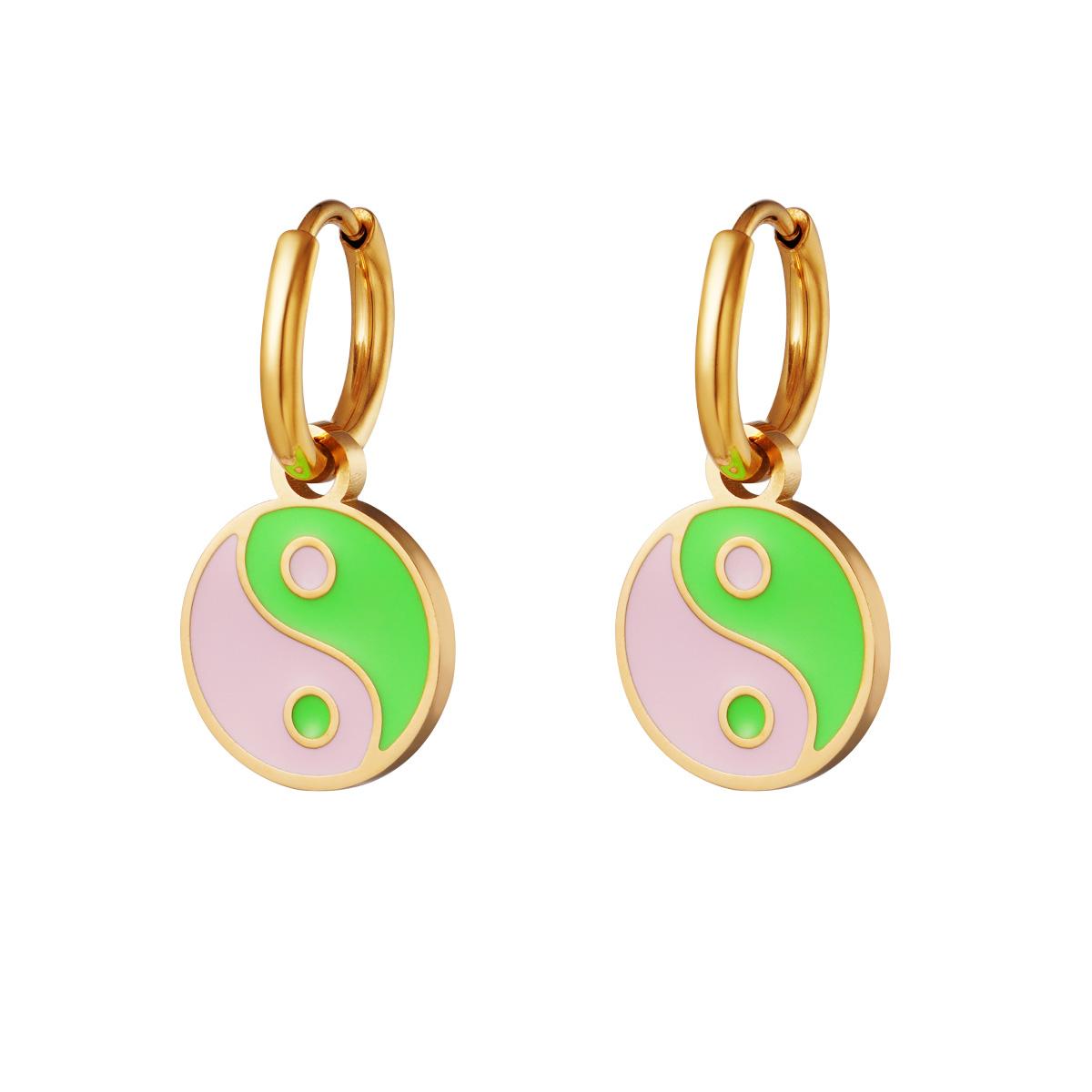 Boucles d'oreilles en acier inoxydable Yin Yang