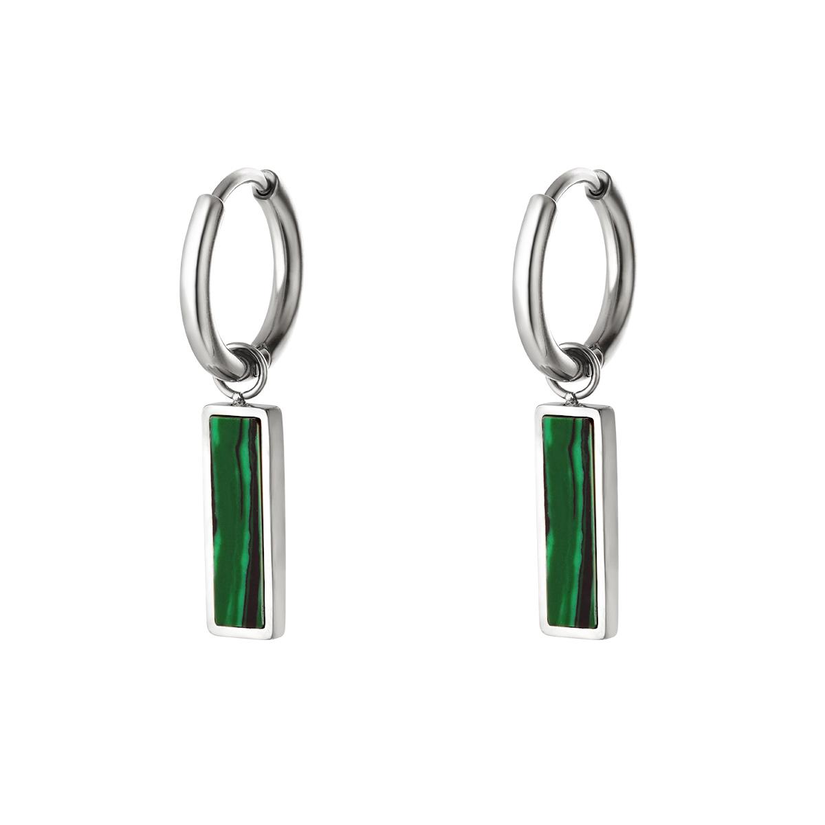 Green bar earrings