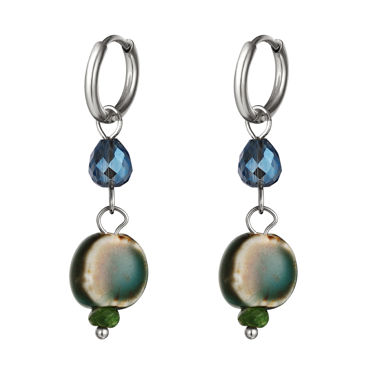 Earrings with Colored Charm Small
