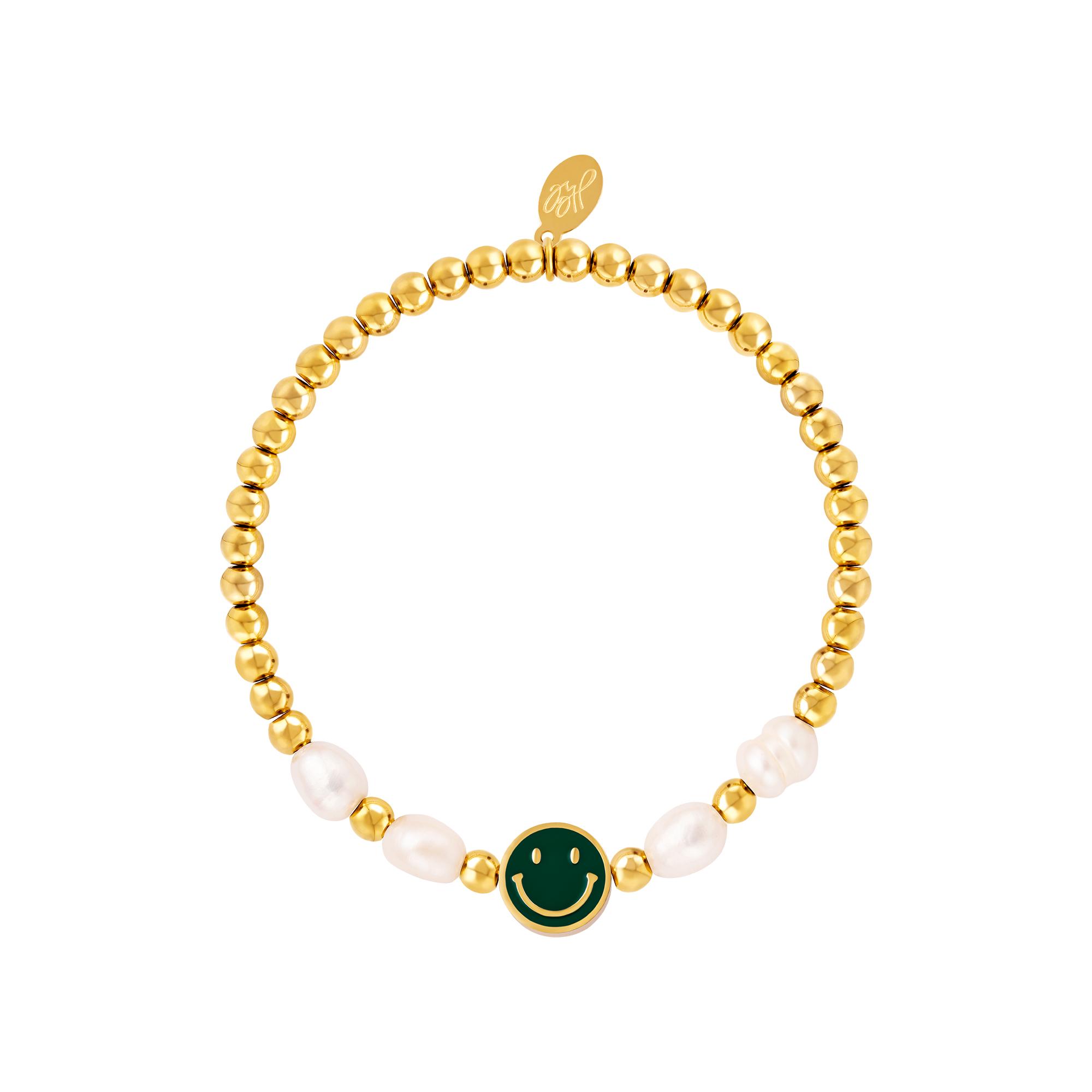 Bracelet smiley en acier inoxydable perles