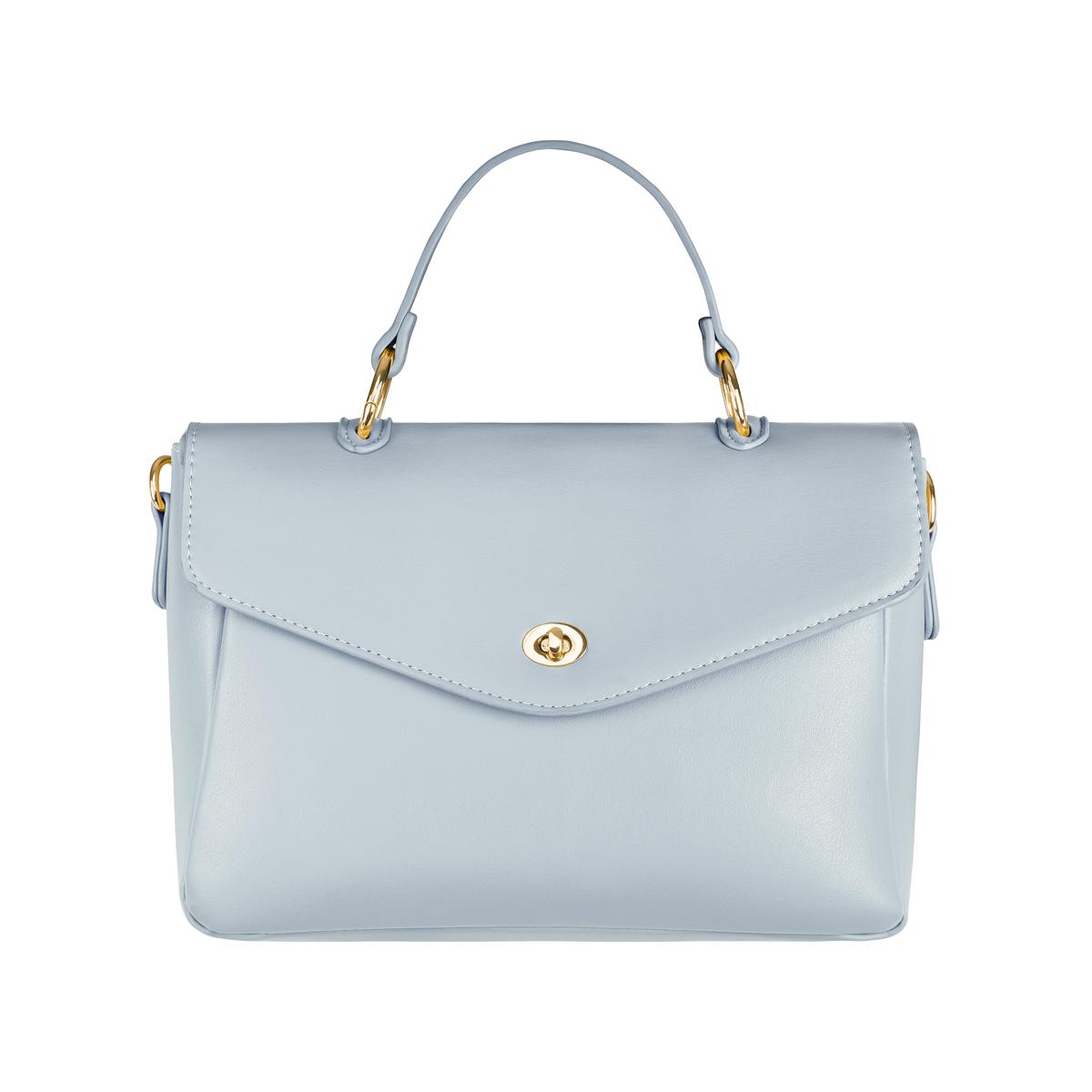 Pu kunstledertasche mit griff und schultergurt und metalldetails