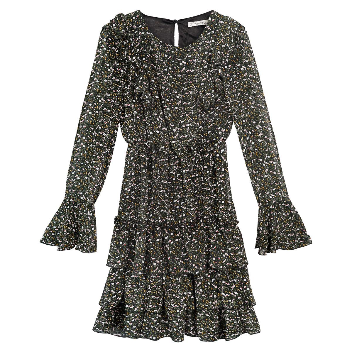 Kleid mit blumendruck und rüschen