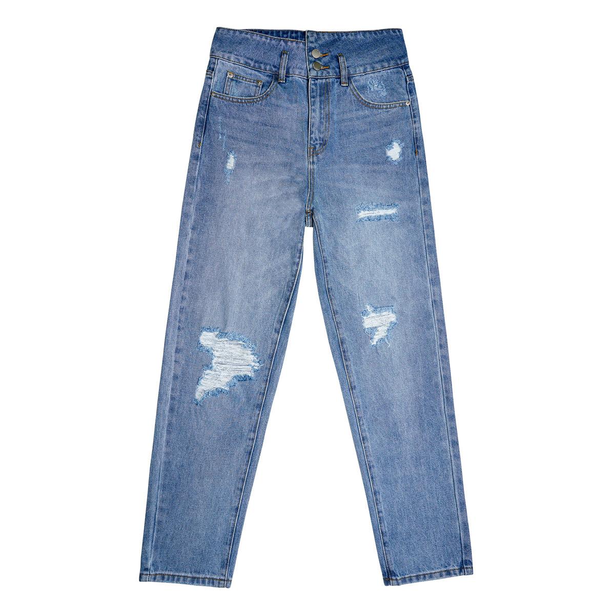 Hoch taillierte, knöchellange distressed-jeans