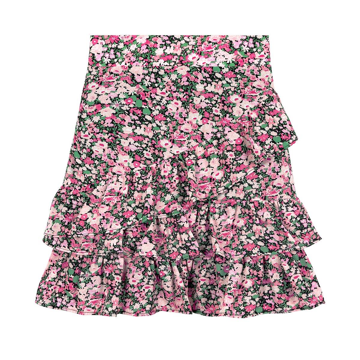 Ruffled skirt in flower print