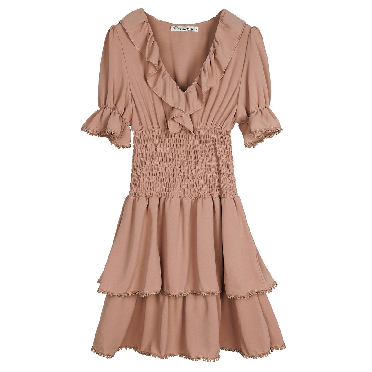 Dress ruffle madness beige