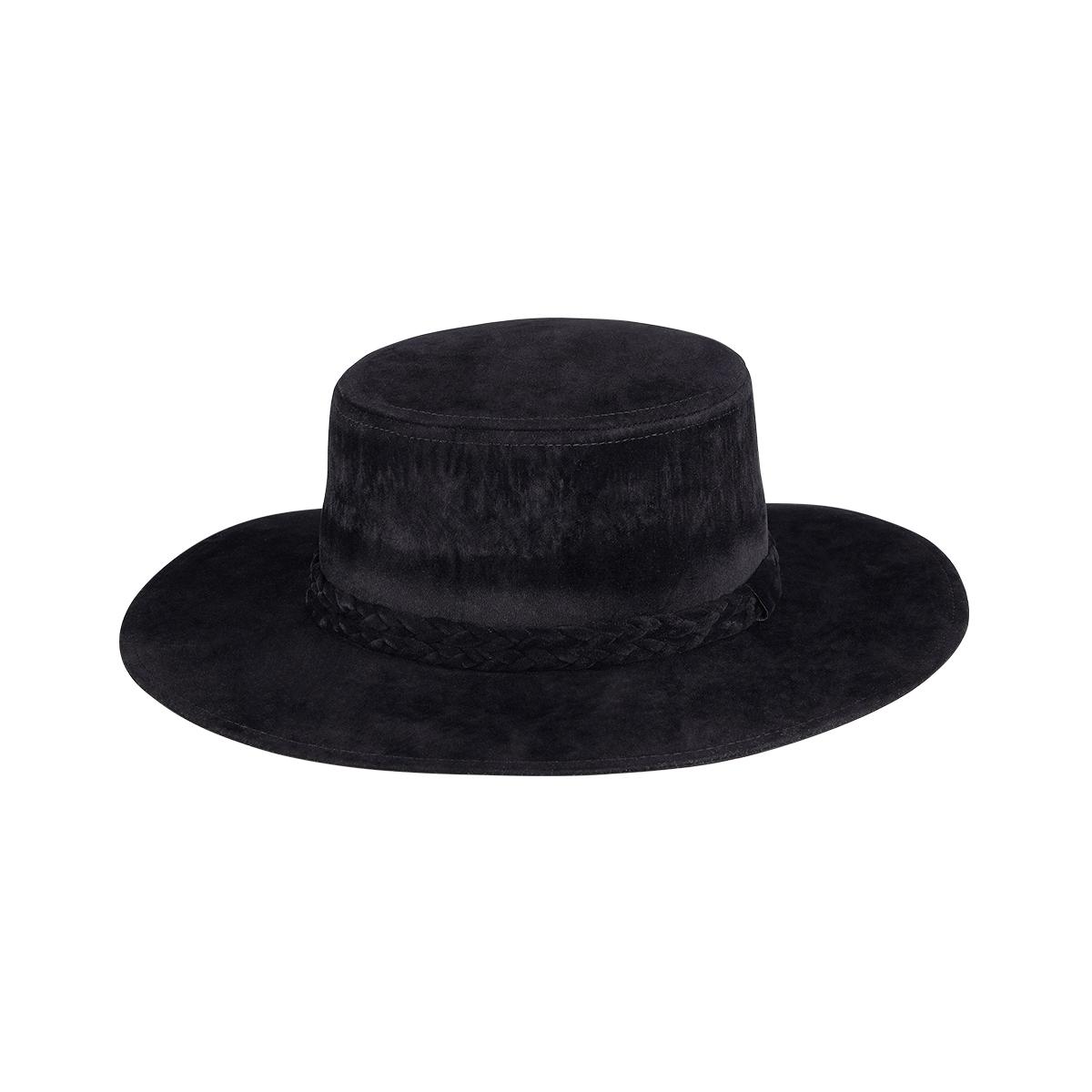 Chapeau aspect suédé détail tressé