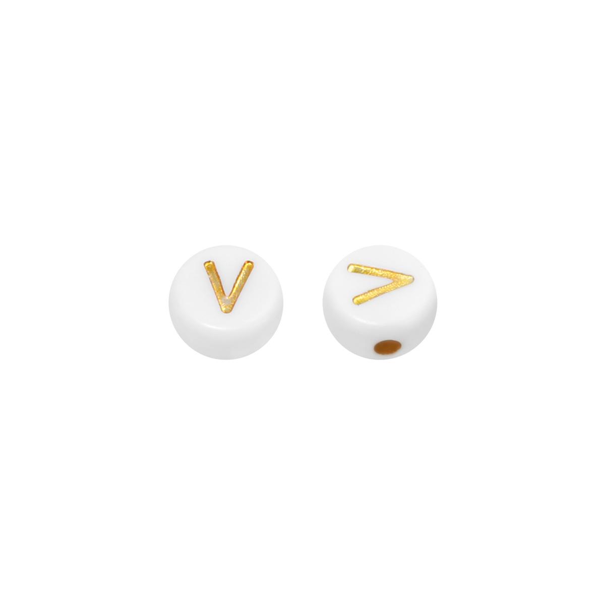 Diy flat beads letter v - 7mm