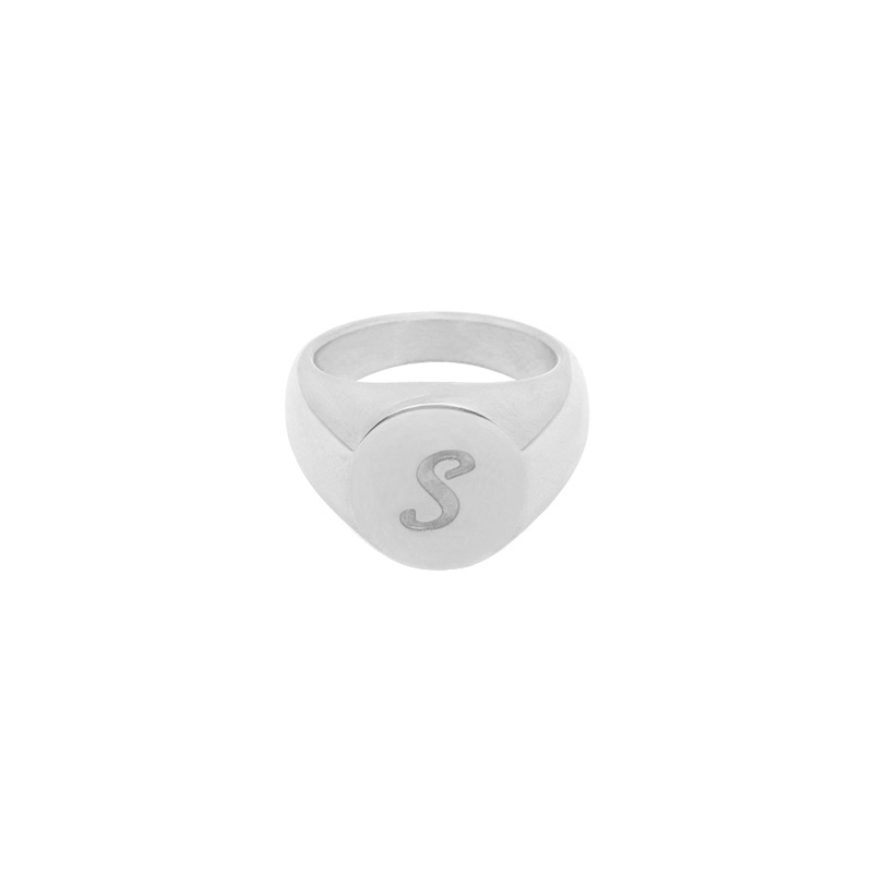 Ring Initial S Signet Ring #16
