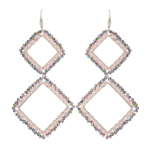 Earrings Square -pink-