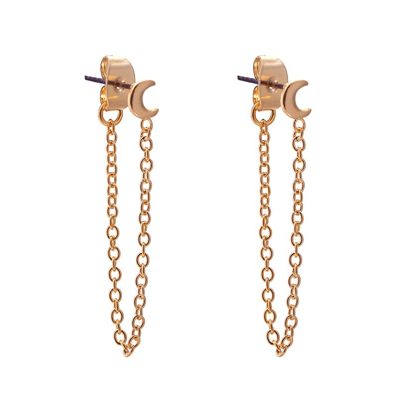 Earrings Chain with Half Moon